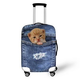 3D Jeans Style Little Cat Waterproof Suitcase Protector for 19 20 21