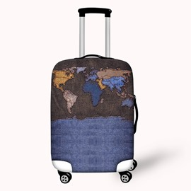World Map Knit Waterproof Suitcase Protector for 19 20 21