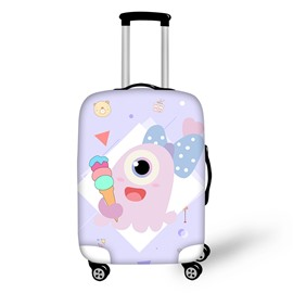 3D One-Eyed Monster Eating Ice Cream Painted Luggage Cover