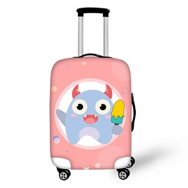 3D Printed Little Cute Monster Eating Ice Cream Painted Luggage Cover