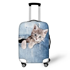Little Cat Hiding in the Pocket 3D Painted Luggage Protect Cover