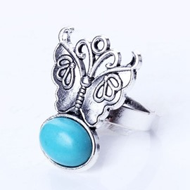 Lovely Butterfly Design Turquoise Alloy Ring