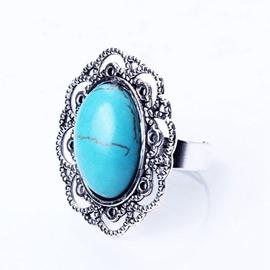 Simple Ellipse Design Turquoise Alloy Ring