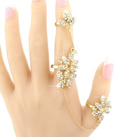 Shining Golden Floral Shape Rhinestone Inlaid Ring