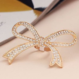 Creative Shining Rhinestone Bowknot Design Alloy Ring