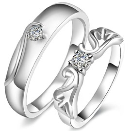Fabulous Hollow Design 925 Sterling Silver Couple Ring