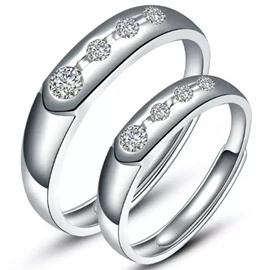 Four Decoration Design 925 Sterling Silver Couple Ring