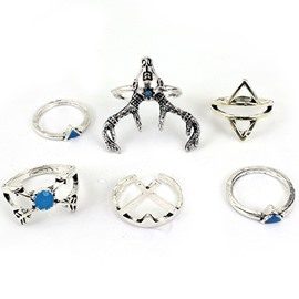Popular Exaggerated Geometry Design Alloy Rings Sets