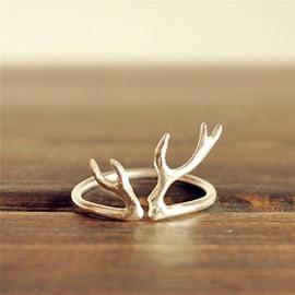 Open Elk Antler Finger Ring Deer Horn Ring for Girls