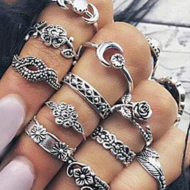 11 Pieces Vintage Silver Boho Rings Set