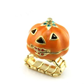 Adjustable Pumpkin Halloween Metal Cross Ring