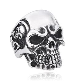 Male Skull Polishing Technic Titanium Steel Punk Style Ring