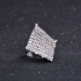 Alloy Geometric Diamante Technic Rhombus Shape Unique Ring