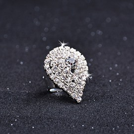 Female Alloy Water Drop Diamante Technic Korean Style Ring