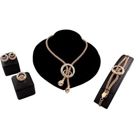 Modern Circle Design Alloy 4-Pieces Jewelry Sets