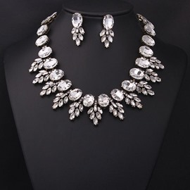 Sparking Silver Crystal Statement Necklace and Earrings Group
