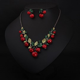 Vivid Cherry Shape Alloy Statement Necklace and Earrings Group