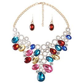 Amazing Multicolor Artificial Stone Alloy Jewelry Sets
