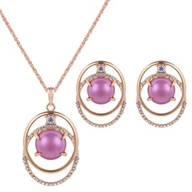 Attractive Purple Pearl Double Circles Design Alloy Jewelry Sets