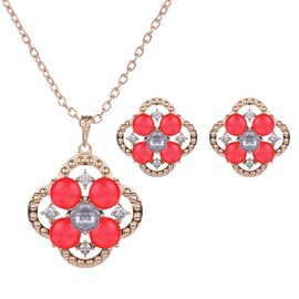 Beautiful Red Rhinestone Inlaid Design Alloy Jewelry Sets