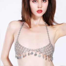 Bra Chain Body Chain Jewelry Swimsuit Body Chain With Coin Pendants Bikini