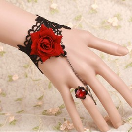 New Style Fantastic Red Rose Pattern Lace Bracelet