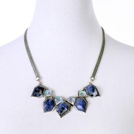Women' s Fashon Rhombus Natural Stone Statement Necklace