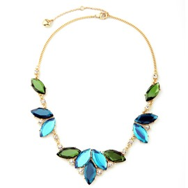 Women' s Shinning Diamante Green Leaf Necklace
