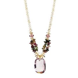 Women' s Austrian Crystal Jade Pendant Necklace