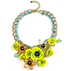Women' s Fluorescent Knitting Flower Statement Necklace