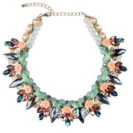 Women' s Fabulous Crystal Hand Knitting Statement Necklace