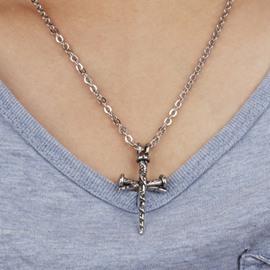 Men' s Cool Titanium Steel Cross Pendant Necklace