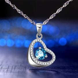 Women' s Romantic Heart Shape 925 Sterling Silver Pendant Necklace