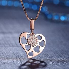 Women' s Heart Shape Skeleton 925 Sterling Silver Pendant Necklace
