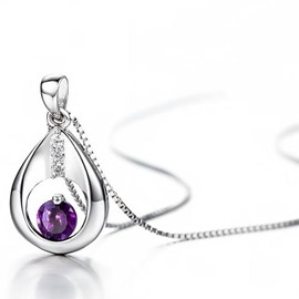 Women' s Fashion Amethyst Pendant 925 Sterling Silver Necklace