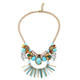 Women' s Colorful Artificial Gemstone Stone Pendant Necklace
