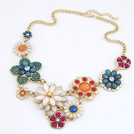 Women's Colorful Sweet Floral Statement Necklace