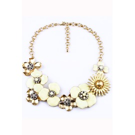 Women's Vogue Diamante Floral Statement Necklace