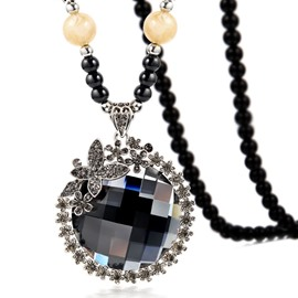 Women's National Style Crystal Beads Sweater Necklace