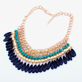 Women's Bohemian Tassels Beads Statement Necklace