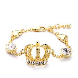 Women's Vintage Diamante Crstal Crown Bracelet
