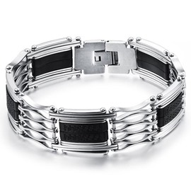 Men' s Fashion Skeleton Silicon and Steel Bracelet