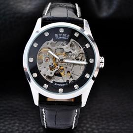 Mens Fashion Skeleton Automatic Self-Winding Waterproof Leather Band Mechanical Watch