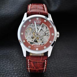 Leather Belt Brethable Luminous Skeleton Dial Automatic Waterproof Men' s Wrist Watch