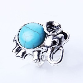 Amazing Elephant Design Turquoise Alloy Ring
