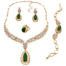 Luxury Emerald Diamante Stone Alloy Jewelry Sets