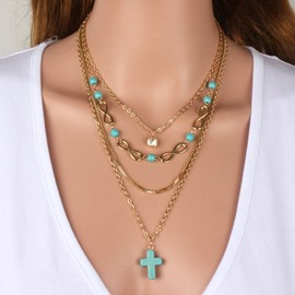 Fashion Four Layers Two Colors for Choose Cross Design Necklace