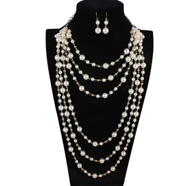 Elegant Six Layers Pearls Chain Necklace with Earrings