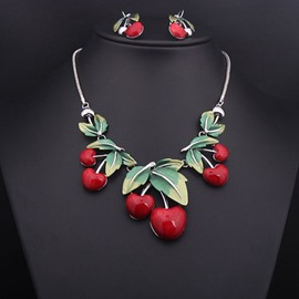 Cute Cherry Shape Alloy Statement Necklace