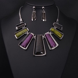 Sumptuous Women's Geometry Shape Statement Necklace and Earing